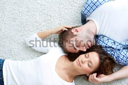 Stock fotó: Szerelmespár · szemtől · szembe · fölött · kilátás · fiatal · szeretet