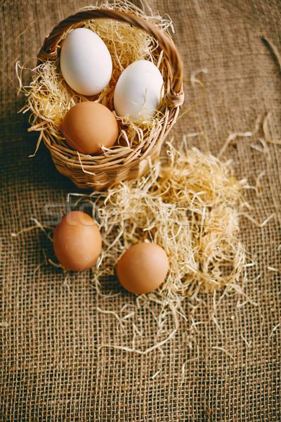 Eggs on hessian Stock photo © pressmaster