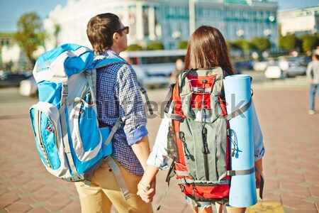 Travelers with rucksacks Stock photo © pressmaster
