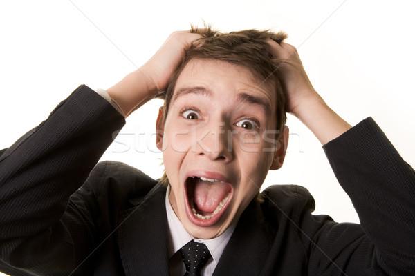 Sikít fickó portré csalódott üzletember kezek Stock fotó © pressmaster