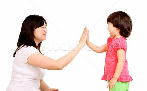 Portret moeder klein dochter aanraken palm Stockfoto © pressmaster