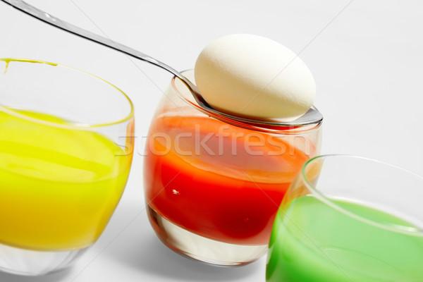 Foto stock: Huevo · pintura · primer · plano · cuchara · vidrio · pintado