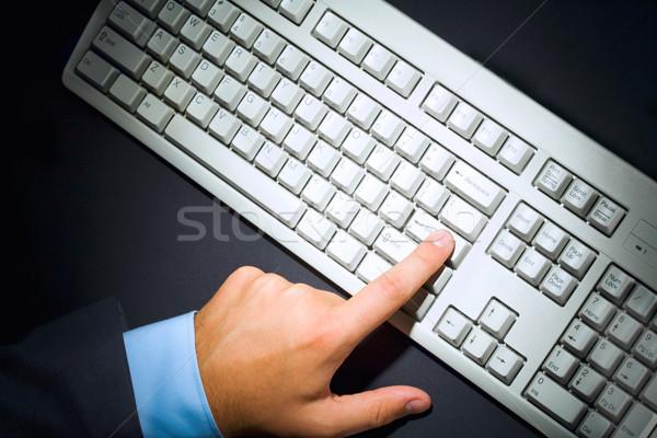 Stock fotó: Kisajtolás · gomb · fölött · kilátás · emberi · ujj