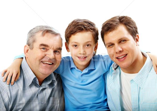 Foto stock: Tres · hombres · retrato · padre · abuelo · hijo