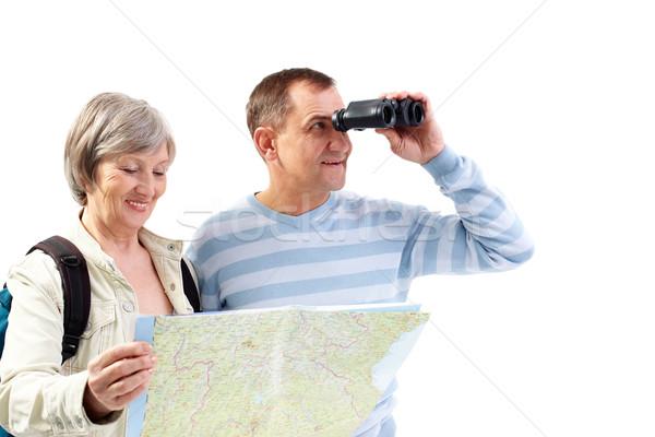 Mirando retrato feliz pareja de ancianos aprendizaje Foto stock © pressmaster