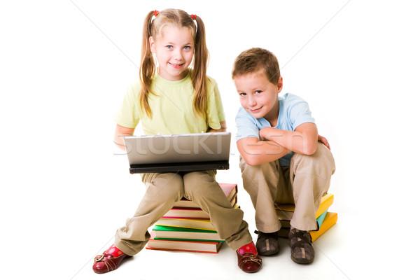 Сток-фото: команде · Smart · девушки · ноутбука · Cute · мальчика