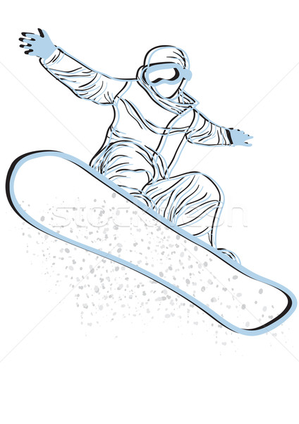 blue silhouette of snowboarder  Stock photo © pressmaster