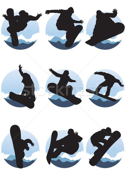 Stockfoto: Collectie · sport · kunst · winter · schilderij · jongen