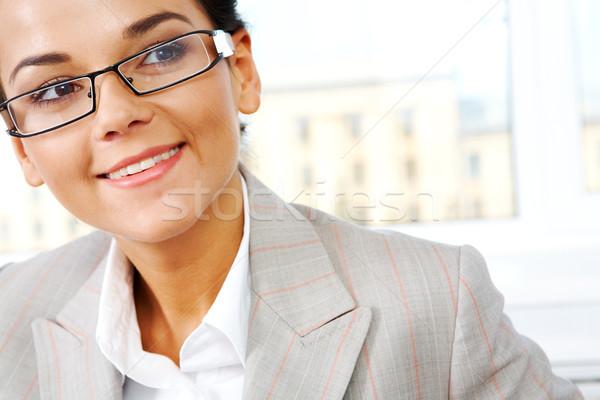 Uśmiechnięty kobiet twarz szczęśliwy działalności pani Zdjęcia stock © pressmaster