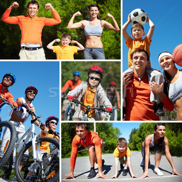 Loisirs collage famille heureuse sport femme homme Photo stock © pressmaster