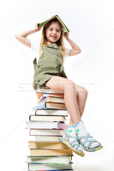 Iskolás lány könyvek portré tart tankönyv fej Stock fotó © pressmaster