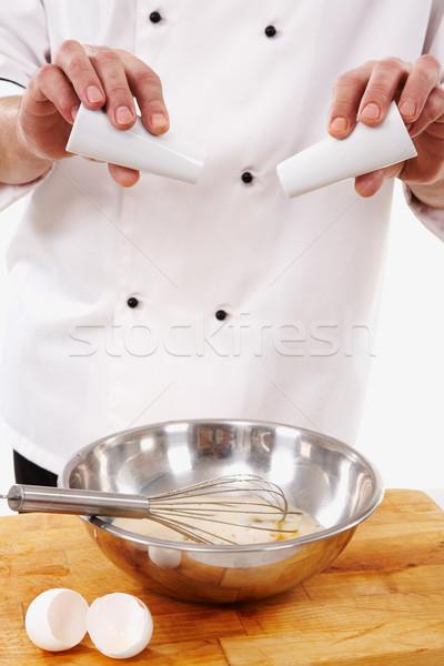 Stockfoto: Zout · peper · afbeelding · kok · handen · eieren