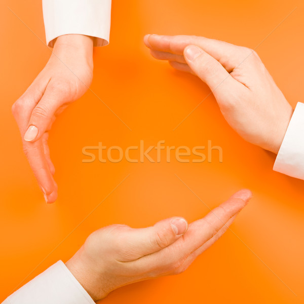 Stockfoto: Recycling · symbool · afbeelding · oranje · business · hand