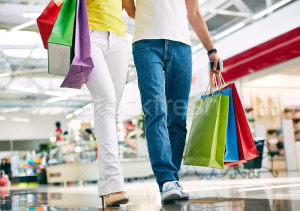 Stock photo: Shoppers with paperbags