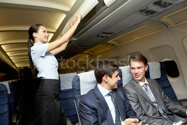 Prontidão vôo foto mulher vidro Foto stock © pressmaster