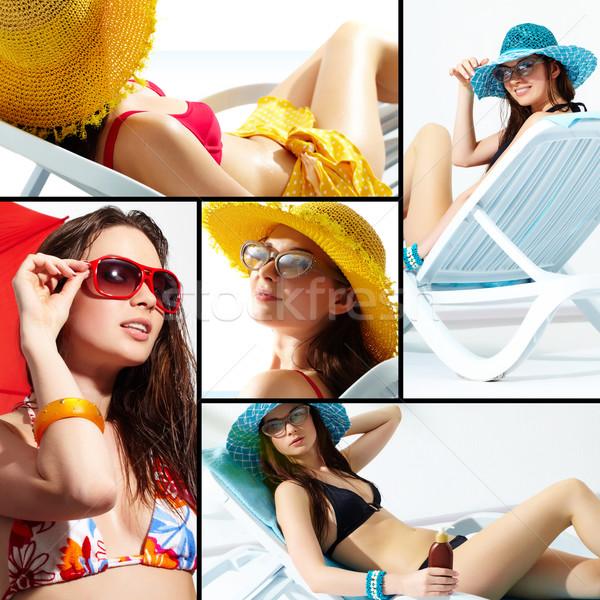 Photo stock: Collage · jeunes · dame · été