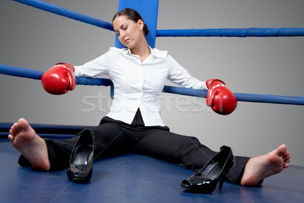 Yorgunluk portre yorgun işkadını boks eldivenleri uyku Stok fotoğraf © pressmaster