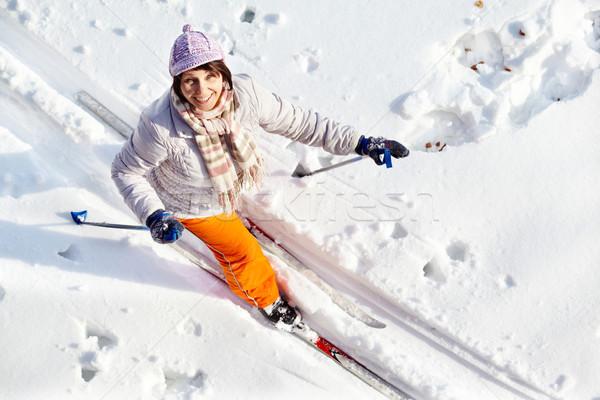 Foto stock: Bastante · esquiador · ángulo · esquí