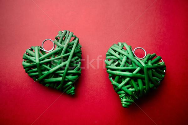 любви изображение два декоративный зеленый сердцах Сток-фото © pressmaster
