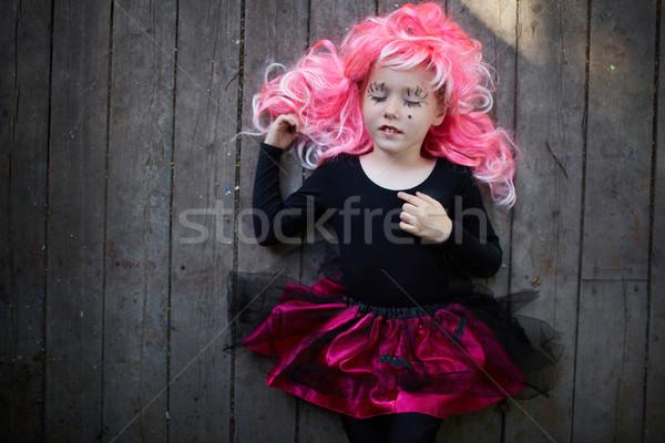 Хэллоуин спать портрет Cute девушки розовый Сток-фото © pressmaster