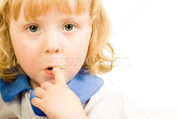 Foto stock: Careta · retrato · bonitinho · little · girl · dedo · boca