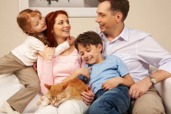 Stock fotó: Együttlét · portré · szeretetteljes · szülők · gyerekek · élvezi