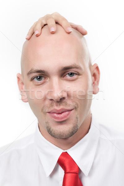 Vreemd portret glimlachend man vrouwelijk hand Stockfoto © pressmaster