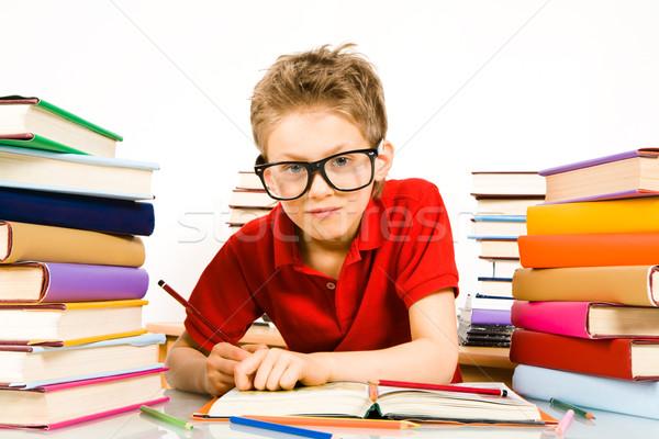 Foto stock: Lecciones · retrato · colegial · notas
