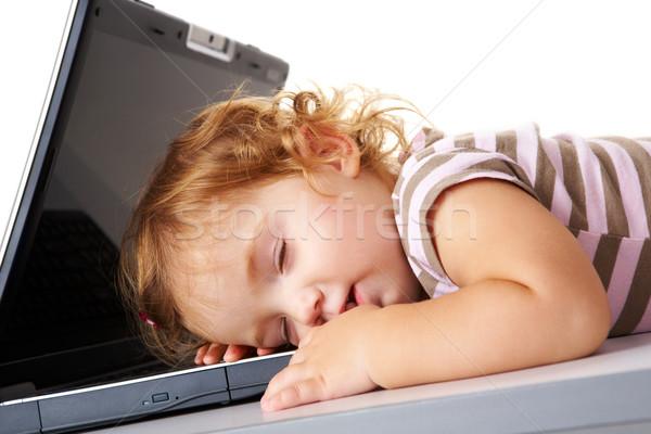 Photo stock: Dormir · portable · cute · enfant · ordinateur