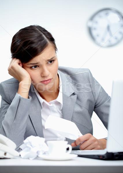 Crisis afbeelding jonge werkgever naar laptop Stockfoto © pressmaster