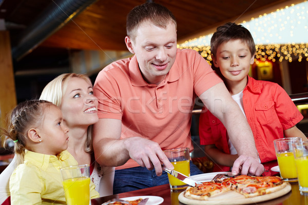 Stockfoto: Pizzeria · portret · cute · kinderen · ouders · familie