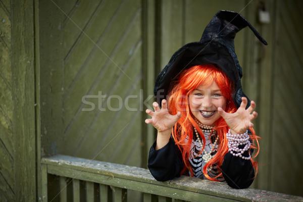 Stok fotoğraf: Mutluluk · portre · halloween · kız