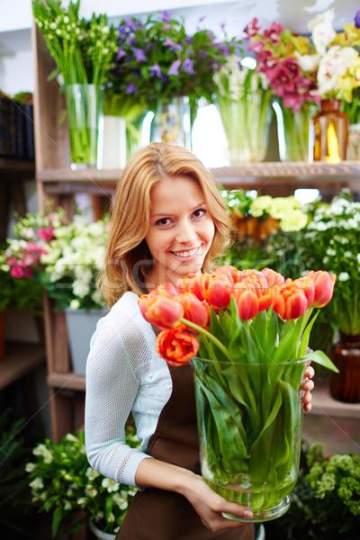 Foto stock: Flor · armazenar · retrato · jovem · feminino · florista