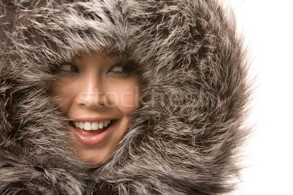 évszak gyönyörű fiatal lány szőr ruházat nevet Stock fotó © pressmaster