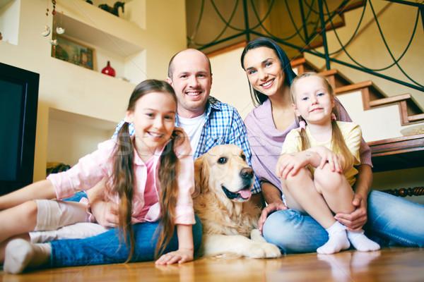 家宅 年輕 友好 家庭 四 寵物 商業照片 © pressmaster
