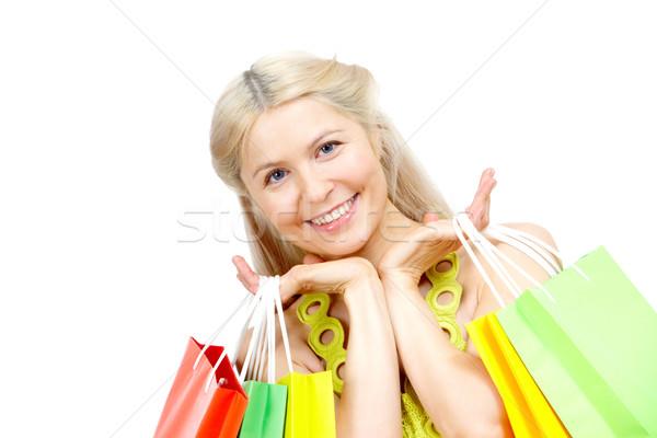 Stock foto: Erfolgreich · Warenkorb · glücklich · weiblichen · Taschen · schauen
