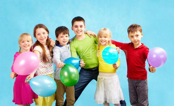 Foto stock: Férias · retrato · sorridente · crianças · balões