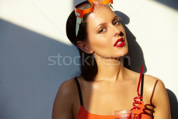 Mulher vidro água piscina retrato Foto stock © pressmaster