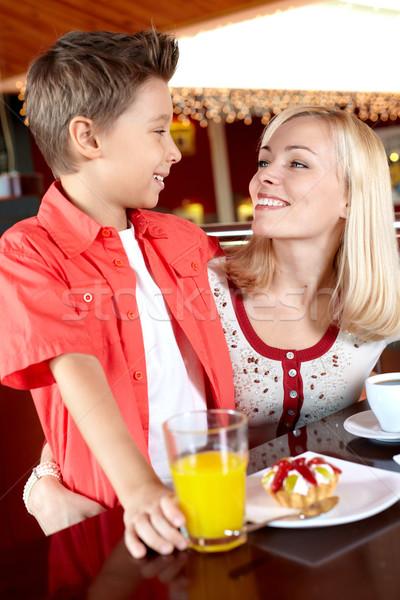 Stockfoto: Geluk · portret · cute · jongen · moeder · cafe