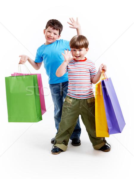 Bracia torby portret dwa szczęśliwy chłopców Zdjęcia stock © pressmaster