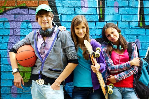 молодой друзей счастливым подростков окрашенный Сток-фото © pressmaster