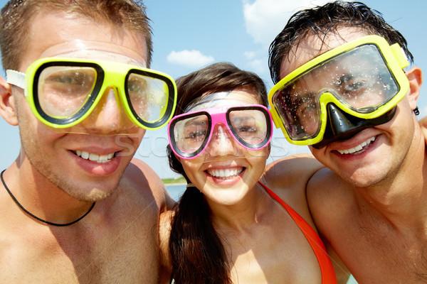 Scuba vrienden portret drie vrolijk Stockfoto © pressmaster