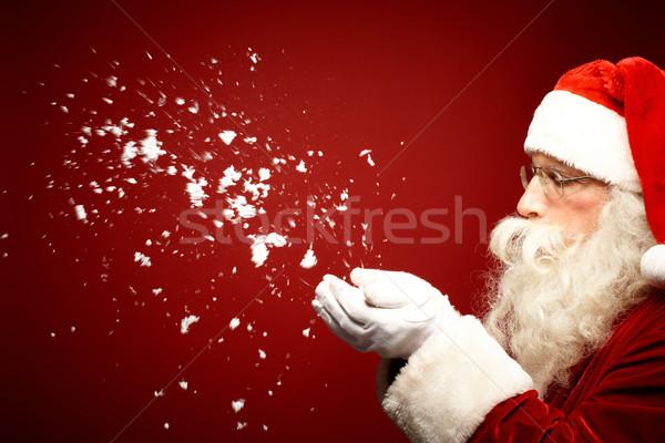 Fúj hó fotó mikulás néz férfi Stock fotó © pressmaster