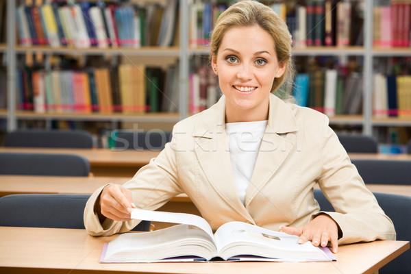 勤勉な 学生 肖像 幸せ 座って ライブラリ ストックフォト © pressmaster
