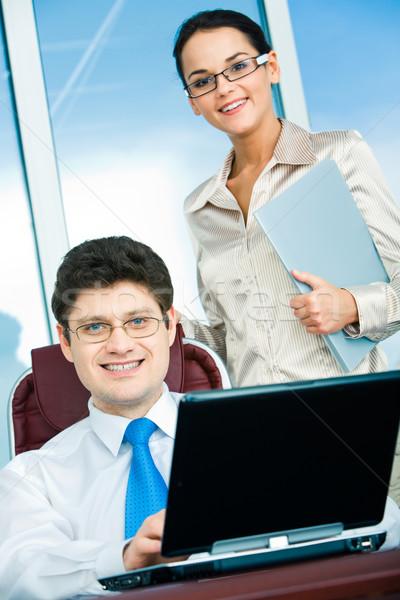 Stock fotó: üzleti · partnerek · portré · főnök · ül · műhely · okos