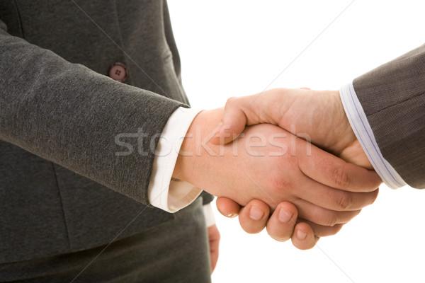Tratar foto aperto de mão parceiros de negócios assinatura contrato Foto stock © pressmaster