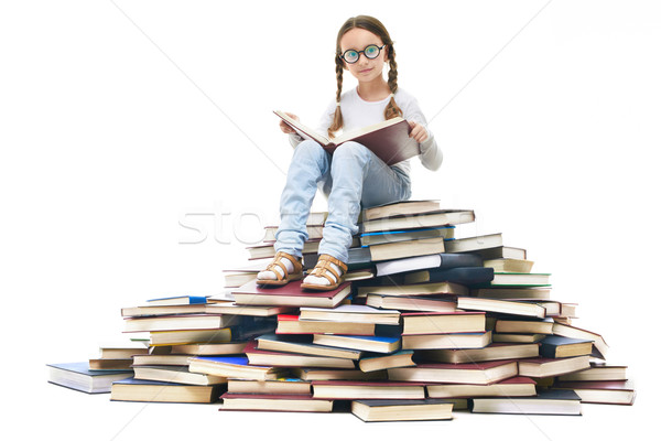Könyvek portré aranyos lány ül köteg Stock fotó © pressmaster