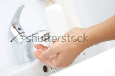 Stock foto: Waschen · Hände · menschlichen · Stream