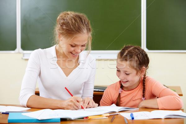 Tekening les portret meisje leraar school Stockfoto © pressmaster