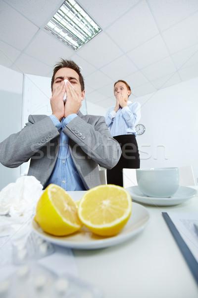 Férfi kép üzletember partner néz ijedtség Stock fotó © pressmaster